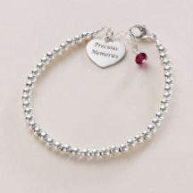 Dainty Silver Memorial Bracelet with Birthstone & Engraving